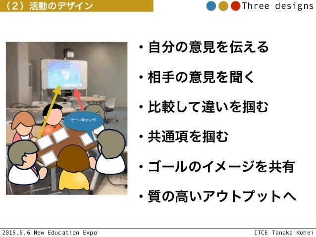 2015.6.6 New Education Expo ITCE Tanaka Kohei Three designs ※∼+@;p><※ ・自分の意見を伝える ・相手の意見を聞く ・比較して違いを掴む ・共通項を掴む ・ゴールのイメージを共有...