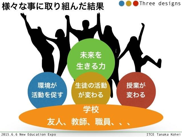 2015.6.6 New Education Expo ITCE Tanaka Kohei Three designs 未来を 生きる力 環境が 活動を促す 生徒の活動 が変わる 授業が 変わる 学校 友人、教師、職員、、、 様々な事...