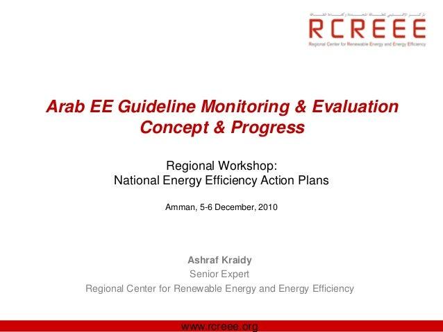 Arab EE Guideline Monitoring & Evaluation          Concept & Progress                   Regional Workshop:          Nation...