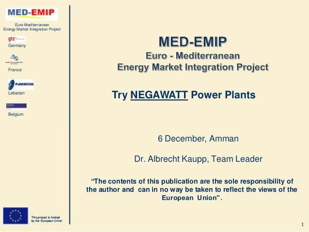 Euro-MediterraneanEnergy Market Integration Project  Germany  France  Lebanon                                             ...