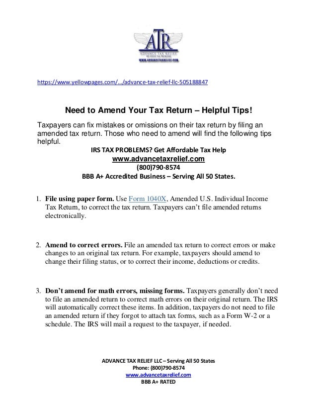 Need To Amend Your Tax Returns Advance Tax Relief