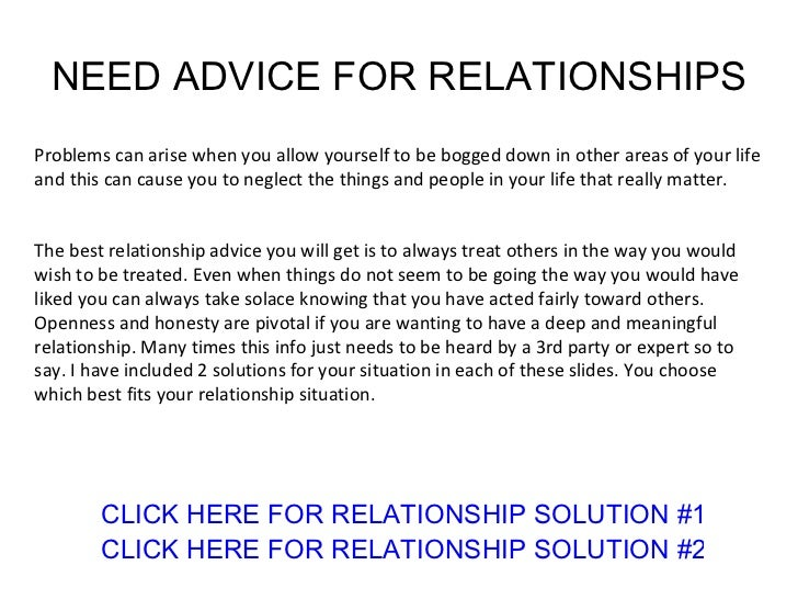 advice on relationship issues