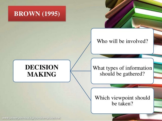 DECISION MAKING Who will be involved? What types of information should be gathered? Which viewpoint should be taken? BROWN...