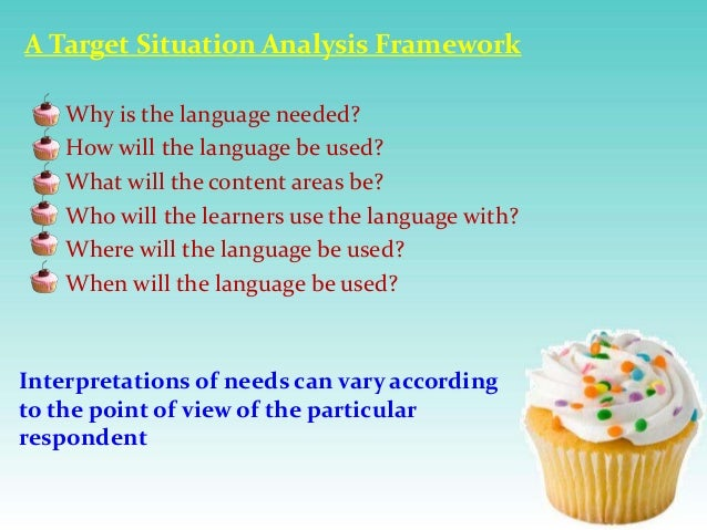 A Target Situation Analysis Framework Why is the language needed? How will the language be used? What will the content are...