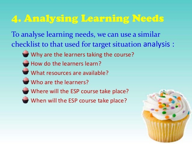 4. Analysing Learning Needs To analyse learning needs, we can use a similar checklist to that used for target situation an...