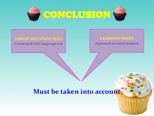 CONCLUSION TARGET SITUATION NEED Concerned with language use  LEARNING NEEDS Approach to need analysis  Must be taken into...