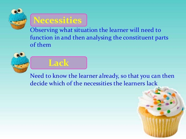 Necessities Observing what situation the learner will need to function in and then analysing the constituent parts of them...
