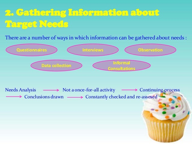 2. Gathering Information about Target Needs There are a number of ways in which information can be gathered about needs : ...