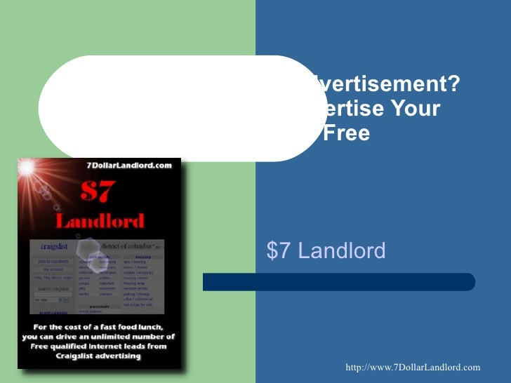 Need an Apartment Advertisement? Use Craigslist to Advertise Your Apartment for Free $7 Landlord