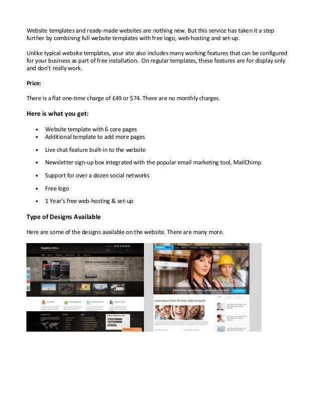 Need A Website Template With Free Hosting Set Up