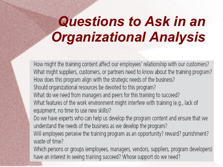Questions to Ask in anOrganizational Analysis