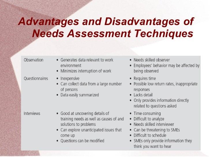 Advantages and Disadvantages of  Needs Assessment Techniques