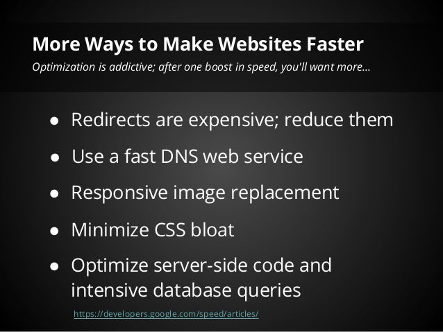 Need for Speed: Website Edition - Website Optimization Tools and Tech… slideshare - 웹