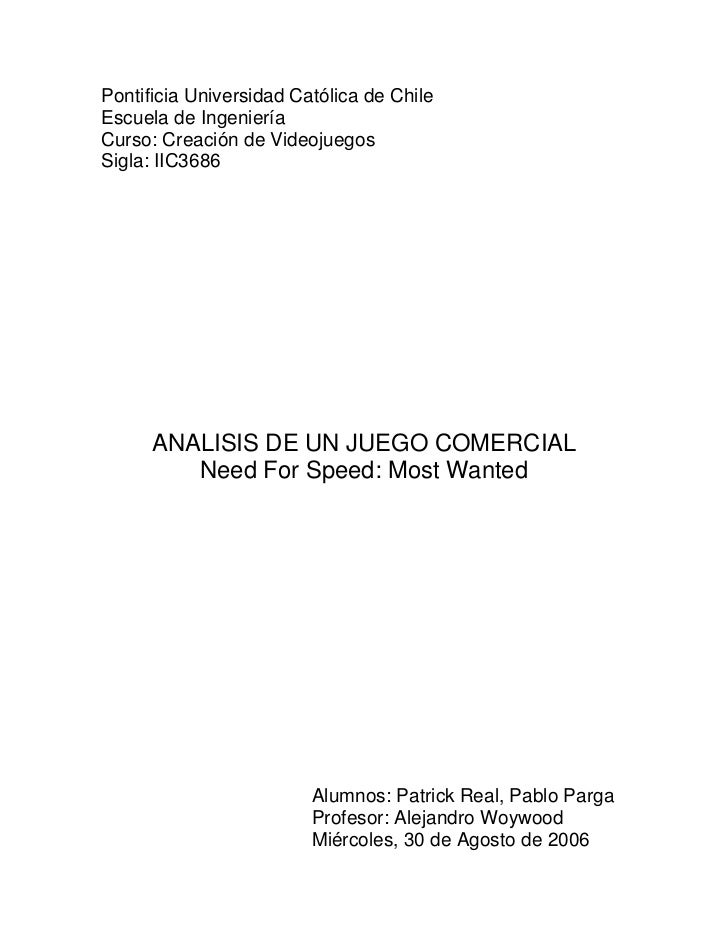 Pontificia Universidad Católica de ChileEscuela de IngenieríaCurso: Creación de VideojuegosSigla: IIC3686      ANALISIS DE...