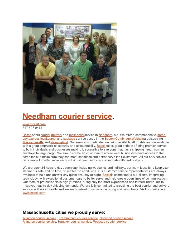 Needham courier service.www.Bocsit.com617-807-0411Bocsit,offers courier,delivery and messengerservice in Needham, Ma. We o...