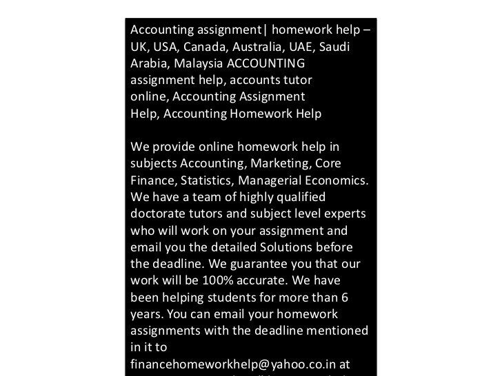 Accounting assignment| homework help –UK, USA, Canada, Australia, UAE, SaudiArabia, Malaysia ACCOUNTINGassignment help, ac...