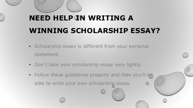 Assistance in writing a scholarship essay