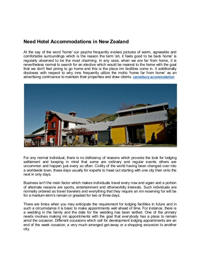 Need Hotel Accommodations In New Zealand