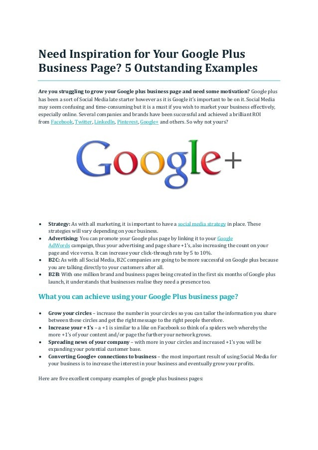Need Inspiration for Your Google Plus Business Page? 5 Outstanding Examples Are you struggling to grow your Google plus bu...