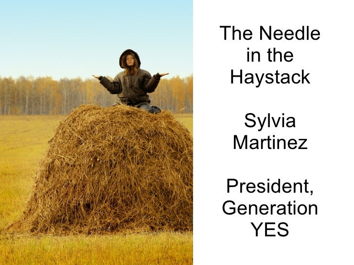 The Needle  in the Haystack  Sylvia MartinezPresident,Generation  YES