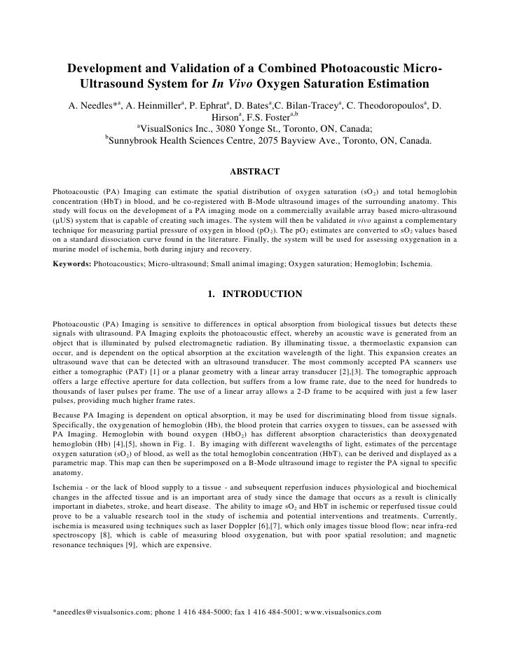 Development and Validation of a Combined Photoacoustic Micro-      Ultrasound System for In Vivo Oxygen Saturation Estimat...