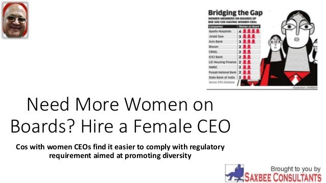 Need More Women on Boards? Hire a Female CEO Cos with women CEOs find it easier to comply with regulatory requirement aime...