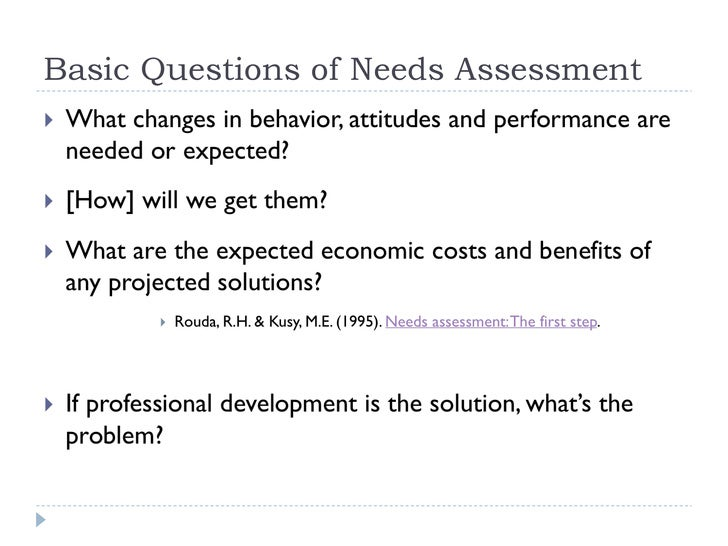 Needs Assessment Needs Assessment Model Of The Needs Assessment