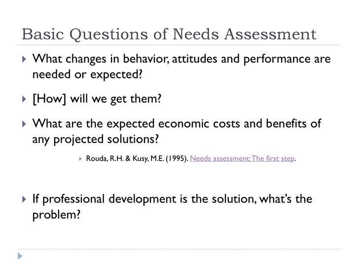Needs Assessment And Program Planning