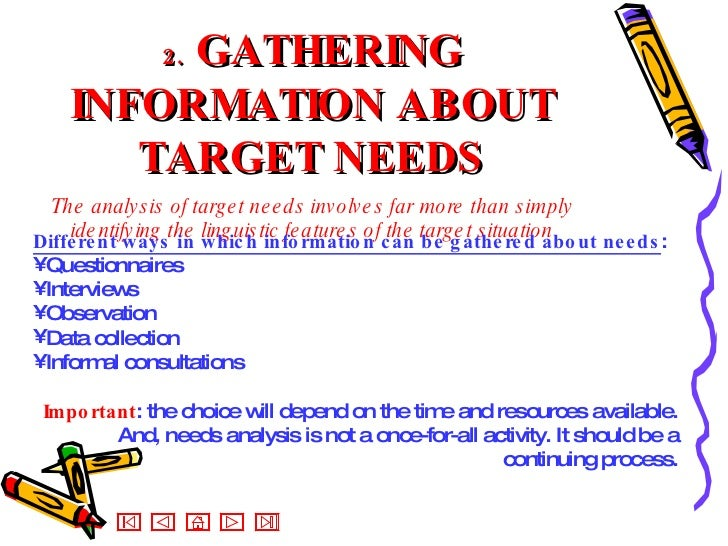2.   GATHERING INFORMATION ABOUT TARGET NEEDS The analysis of target needs involves far more than simply identifying the l...