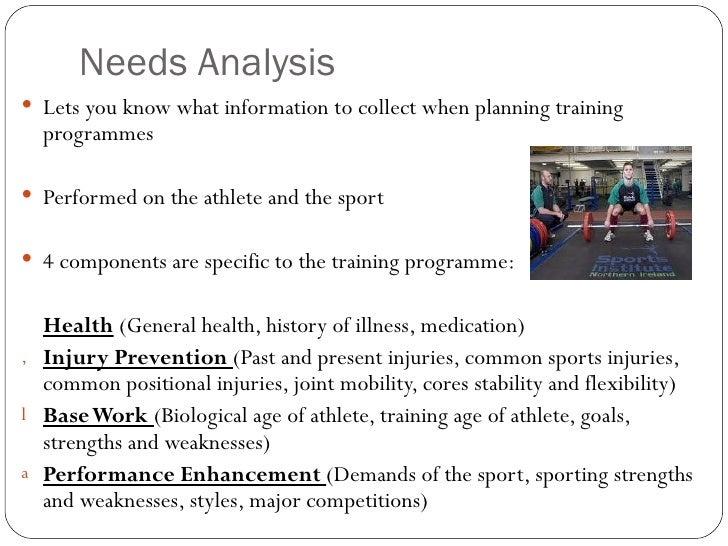 sports nutrition needs analysis 6 principles of needs analysis the opinion of end users is essential to unify a diverse, opinionated design team, and their opinion should transcend the desires of.