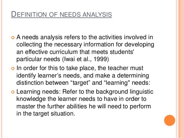 what is needs analysis definition