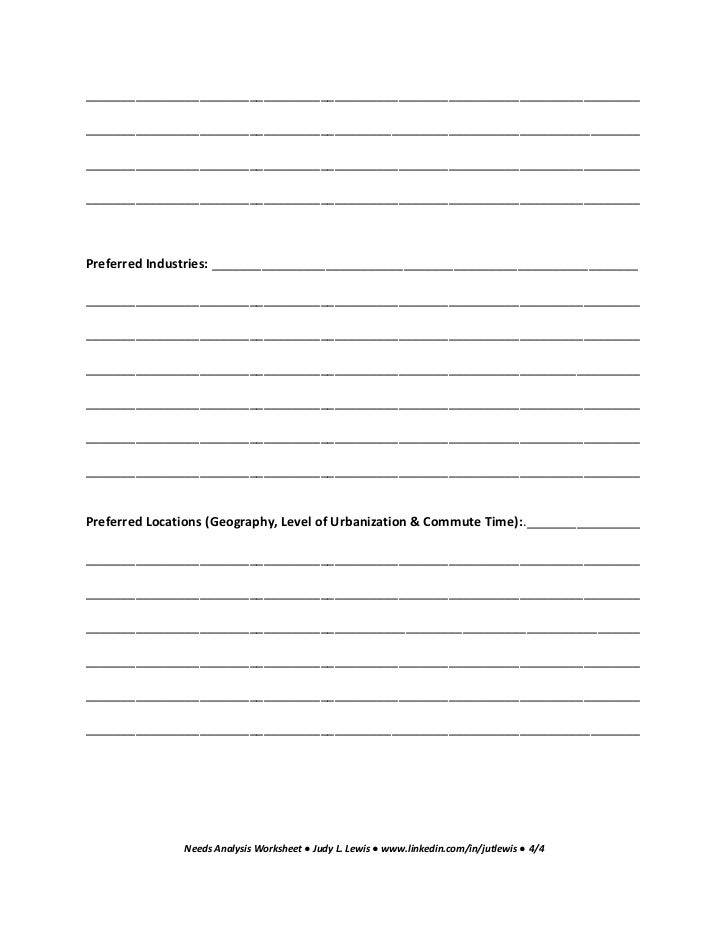 Needs analysis worksheet job search 12 essential steps for a satisfyi – Job Search Worksheet