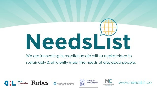 We are innovating humanitarian aid with a marketplace to sustainably & efficiently meet the needs of displaced people. www...
