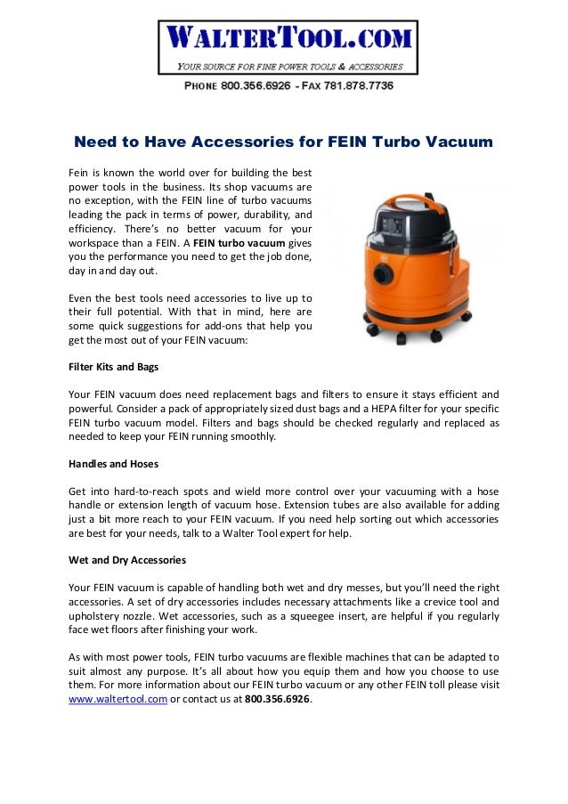 Need To Have Accessories For FEIN Turbo Vacuum Fein Is Known The World Over Building
