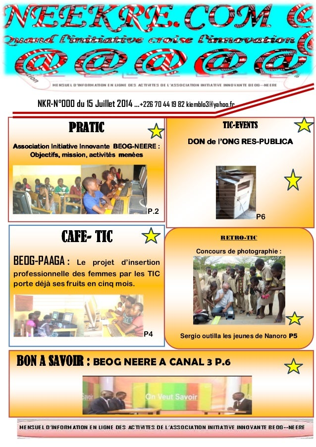NKR-N°000 du 15 Juillet 2014 …+226 70 44 19 82 kiemblo3@yahoo.fr Bb PRATICPRATICPRATICPRATIC Association Initiative Innova...