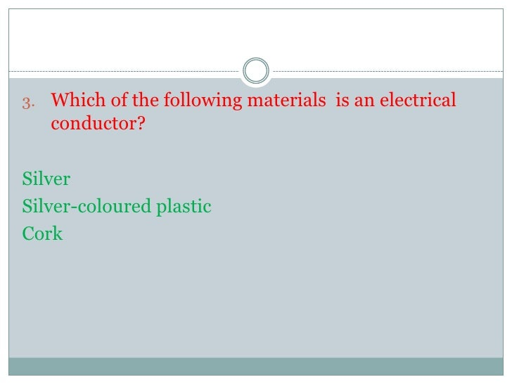 Conductors and Insulators-quiz