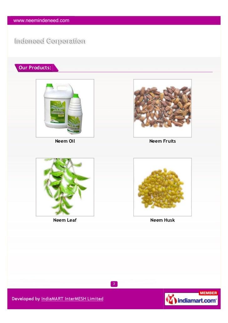 Indeneed Corporation, Coimbatore, Neem Oil Slide 3