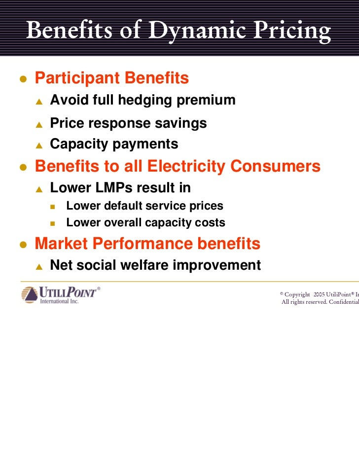 Benefits of Dynamic PricingParticipant Benefits  Avoid full hedging premium  Price response savings  Capacity paymentsBene...