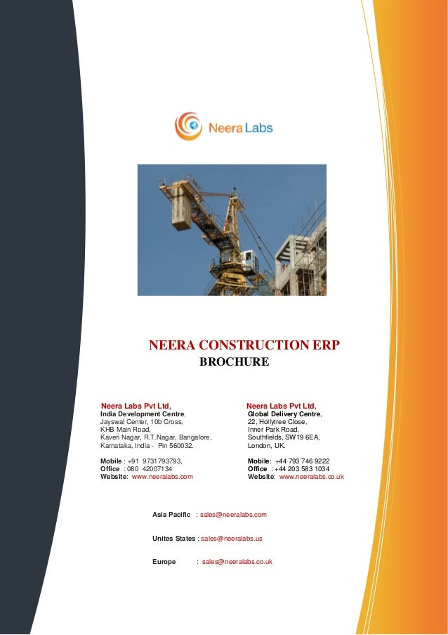 NEERA CONSTRUCTION ERP                               BROCHURENeera Labs Pvt Ltd,                          Neera Labs Pvt L...
