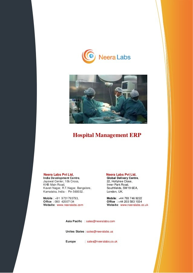 Hospital Management ERPNeera Labs Pvt Ltd,                          Neera Labs Pvt Ltd,India Development Centre,          ...