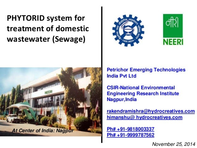 PHYTORID system for  treatment of domestic  wastewater (Sewage)  Petrichor Emerging Technologies  India Pvt Ltd  CSIR-Nati...
