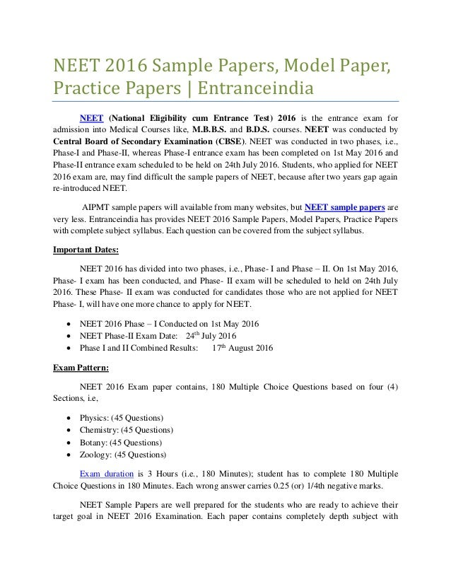 Neet 2016 Sample Papers, Model Papers, Practice Papers - Entranceindia