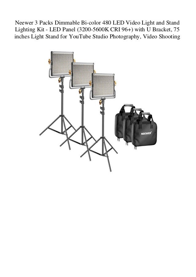 Dimmable Bi Colour LED With U Bracket Video Studio Light Photography Light Kit