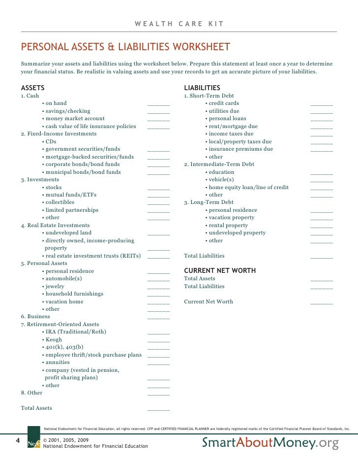 Wealth Care Kit A Consumers Guide to Establishing and Maintaining a – Assets and Liabilities Worksheet