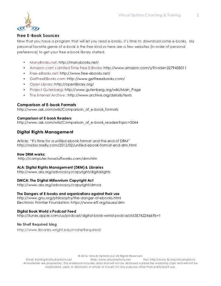 NEFLIN Workshop: Ebook & Ereaders Resource Sheet