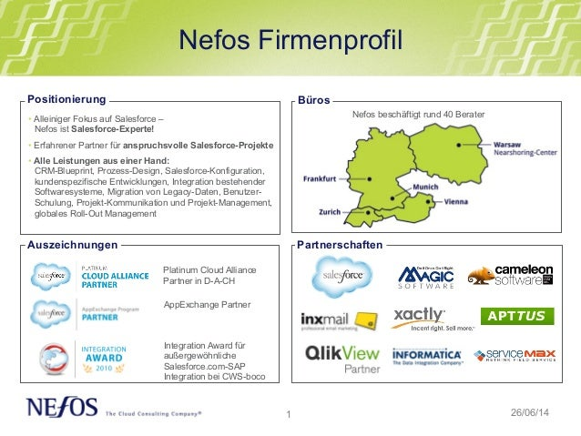 1 Nefos Firmenprofil 26/06/14 •Alleiniger Fokus auf Salesforce – Nefos ist Salesforce-Experte! •Erfahrener Partner für a...