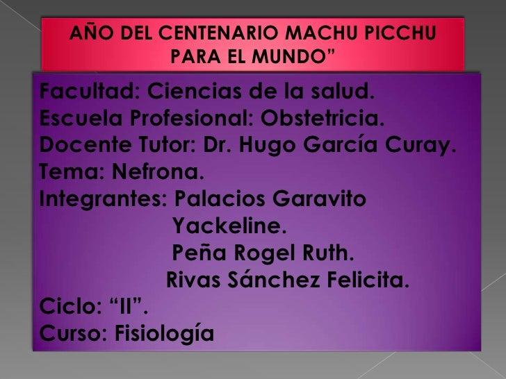 """AÑO DEL CENTENARIO MACHU PICCHU           PARA EL MUNDO""""Facultad: Ciencias de la salud.Escuela Profesional: Obstetricia.Do..."""