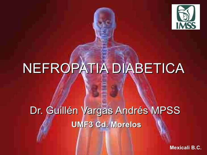NEFROPATIA DIABETICA Dr. Guill é n Vargas Andr é s MPSS Mexicali B.C. UMF3 Cd. Morelos