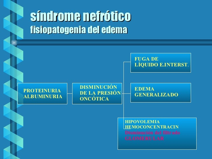 síndrome nefrótico fisiopatogenia del edema PROTEINURIA ALBUMINURIA DISMINUCIÓN  DE LA PRESIÓN ONCÓTICA   FUGA DE LÍQUIDO ...