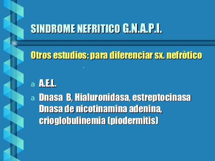 SINDROME NEFRITICO   G.N.A.P.I. <ul><li>Otros estudios: para diferenciar sx. nefròtico </li></ul><ul><li>A.E.L.  </li></ul...